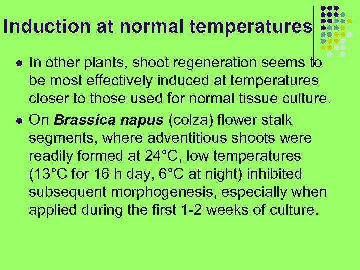 Induction at normal temperatures l l In other plants, shoot regeneration seems to be
