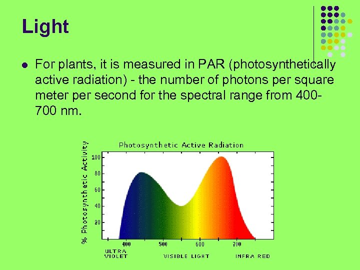 Light l For plants, it is measured in PAR (photosynthetically active radiation) - the
