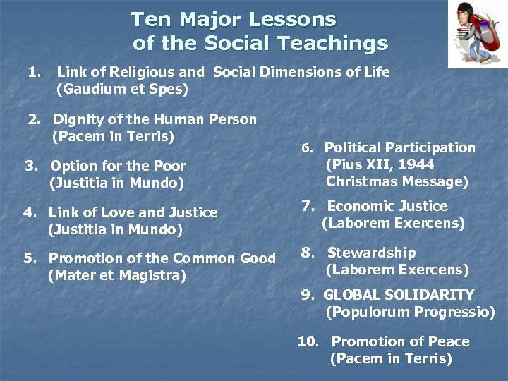 Ten Major Lessons of the Social Teachings 1. Link of Religious and Social Dimensions