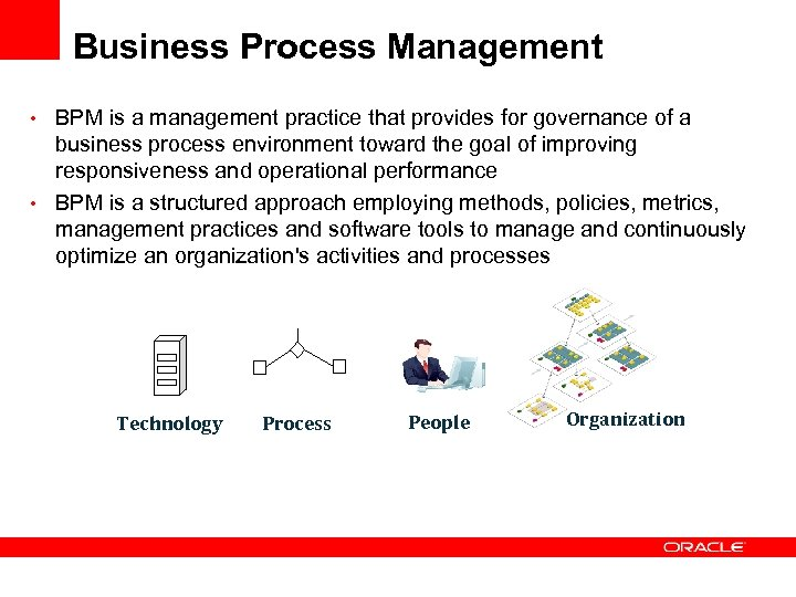 Business Process Management • BPM is a management practice that provides for governance of