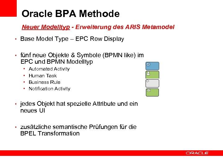 Oracle BPA Methode Neuer Modelltyp - Erweiterung des ARIS Metamodel • Base Model Type