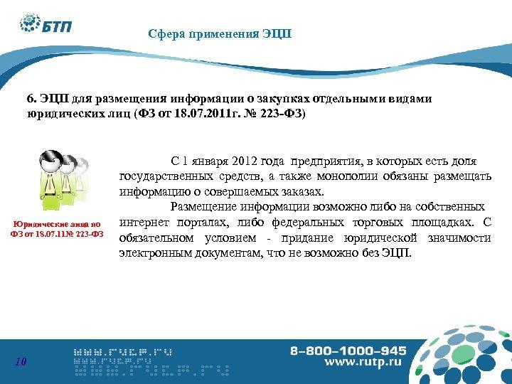 8 -800 -1000945 www. podpis. s u Сфера применения ЭЦП 6. ЭЦП для размещения