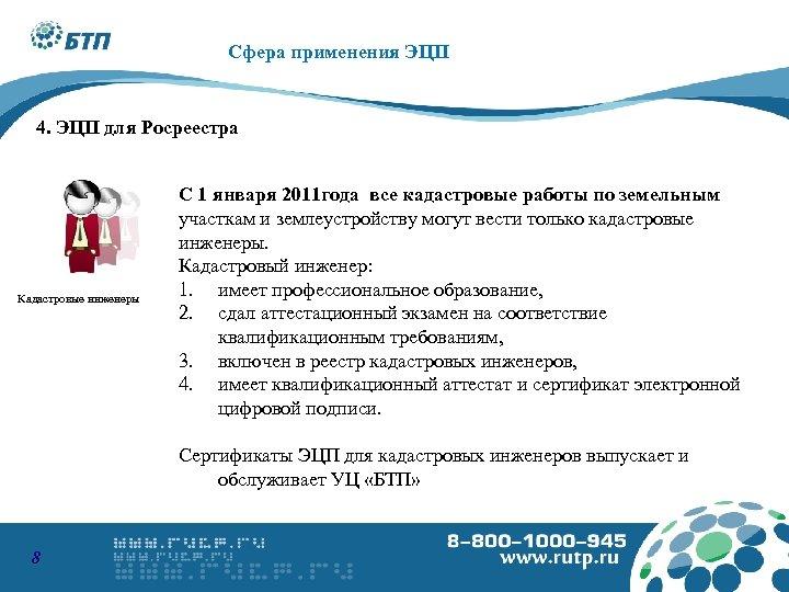 Сфера применения ЭЦП 4. ЭЦП для Росреестра Кадастровые инженеры С 1 января 2011