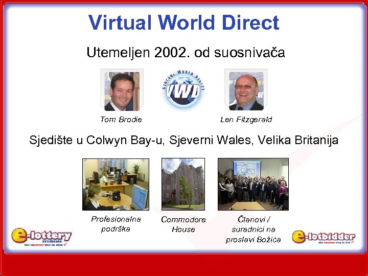 Virtual World Direct Utemeljen 2002. od suosnivača Tom Brodie Len Fitzgerald Sjedište u Colwyn