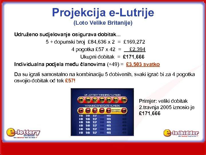 Projekcija e-Lutrije (Loto Velike Britanije) Udruženo sudjelovanje osigurava dobitak. . . 5 + dopunski