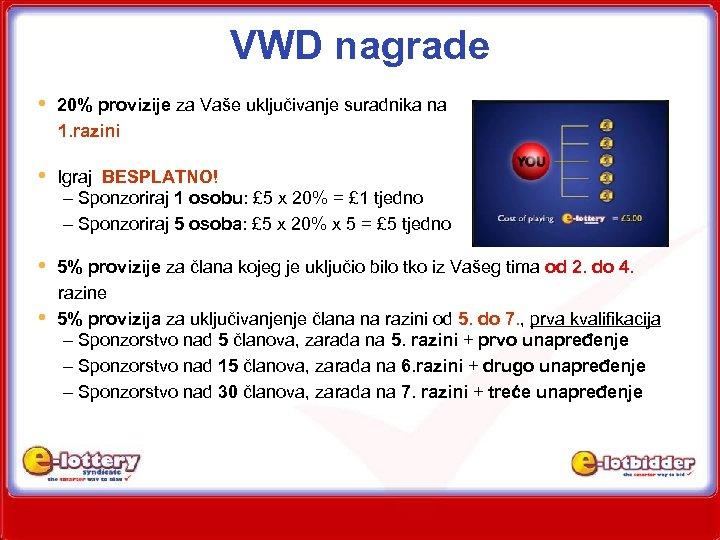VWD nagrade • 20% provizije za Vaše uključivanje suradnika na 1. razini • Igraj