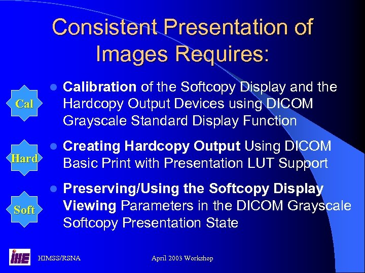 Consistent Presentation of Images Requires: l Calibration of the Softcopy Display and the Hardcopy