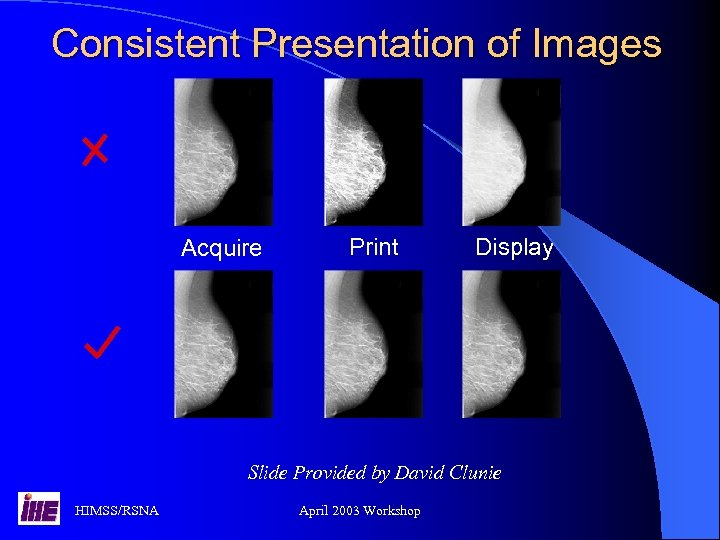 Consistent Presentation of Images Acquire Print Display Slide Provided by David Clunie HIMSS/RSNA April