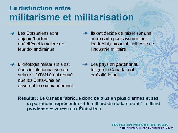 La distinction entre militarisme et militarisation Les Étasuniens sont aujourd'hui très endettés et la