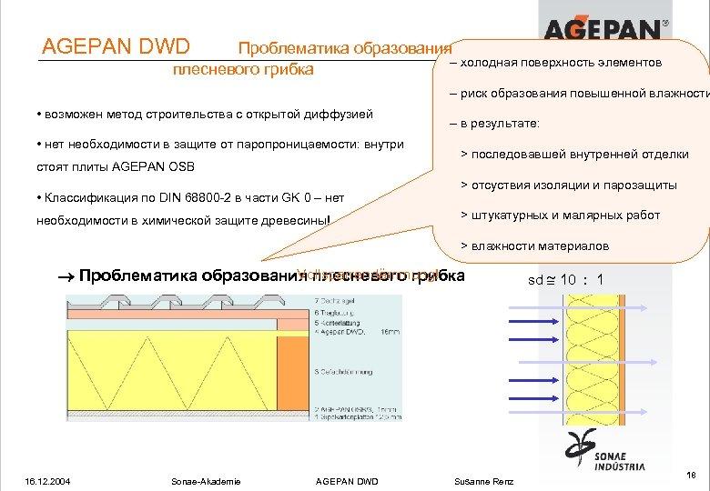 AGEPAN DWD Проблематика образования – холодная поверхность элементов плесневого грибка – риск образования повышенной