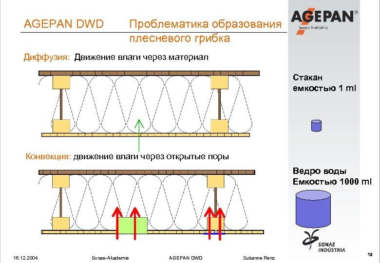 AGEPAN DWD Проблематика образования плесневого грибка Диффузия: Движение влаги через материал Стакан емкостью 1