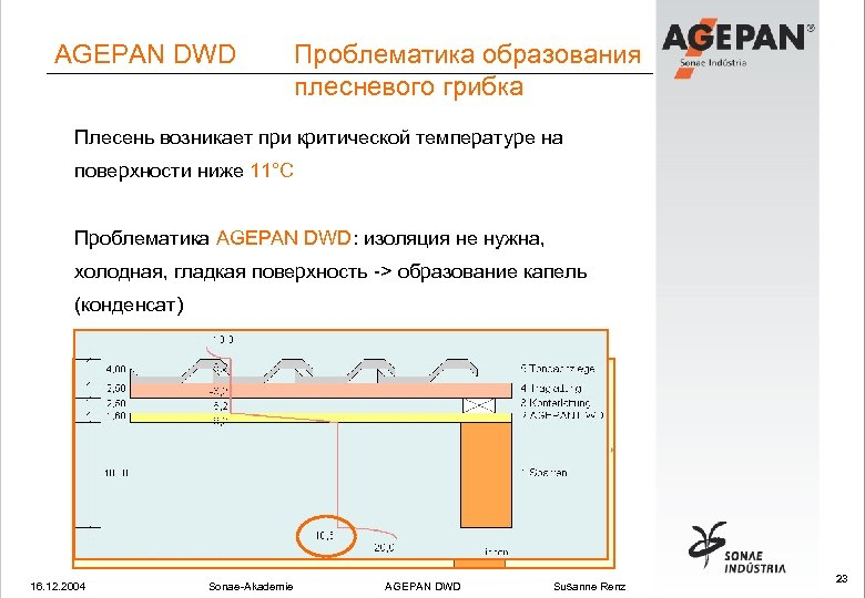 AGEPAN DWD Проблематика образования плесневого грибка Плесень возникает при критической температуре на поверхности ниже