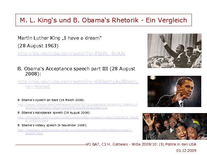 """M. L. King's und B. Obama's Rhetorik - Ein Vergleich Martin Luther King """"I"""