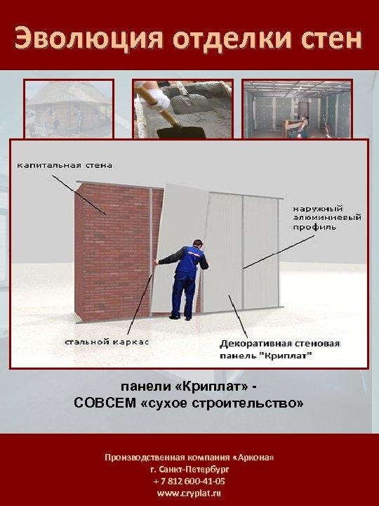 Эволюция отделки стен панели «Криплат» СОВСЕМ «сухое строительство» Производственная компания «Аркона» г. Санкт-Петербург +