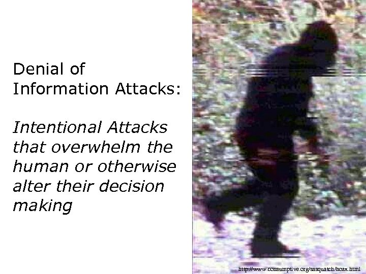 Denial of Information Attacks: Intentional Attacks that overwhelm the human or otherwise alter their