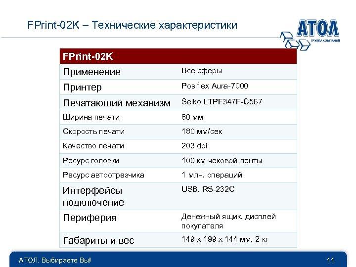 FPrint-02 K – Технические характеристики FPrint-02 K Применение Все сферы Принтер Posiflex Aura-7000 Печатающий