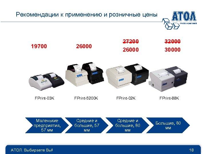 Рекомендации к применению и розничные цены 19700 26000 27200 26000 FPrint-03 K FPrint-5200 K