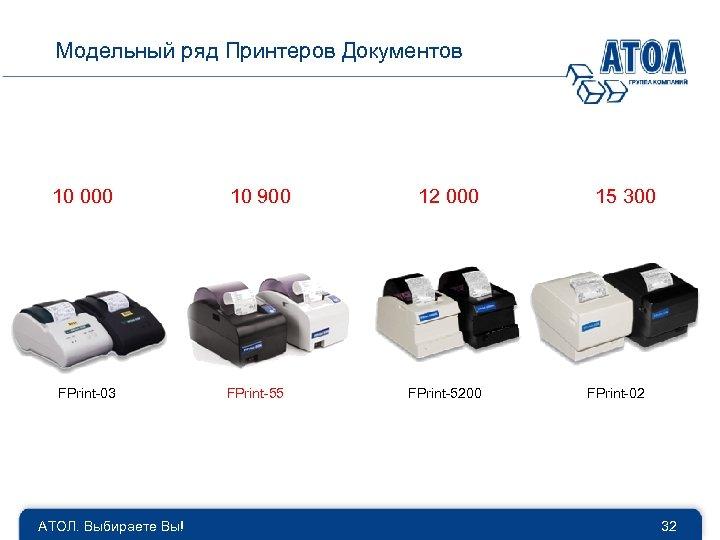 Модельный ряд Принтеров Документов 10 000 FPrint-03 АТОЛ. Выбираете Вы! 10 900 FPrint-55 12