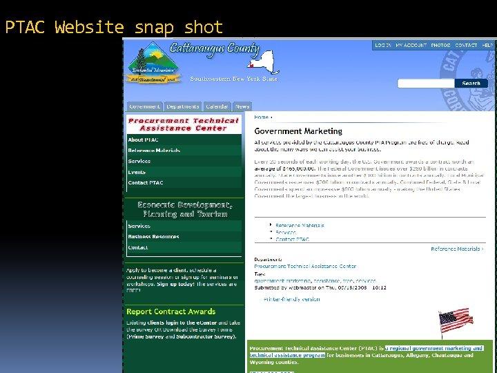 PTAC Website snap shot