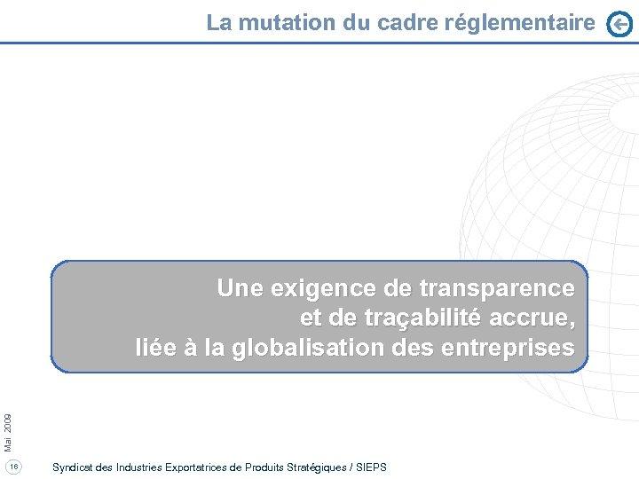 La mutation du cadre réglementaire Mai 2009 Une exigence de transparence et de traçabilité