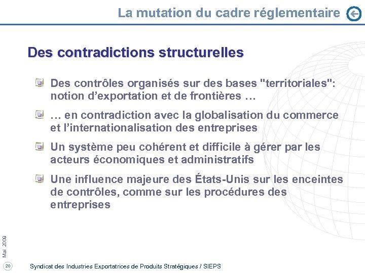 La mutation du cadre réglementaire Des contradictions structurelles Des contrôles organisés sur des bases