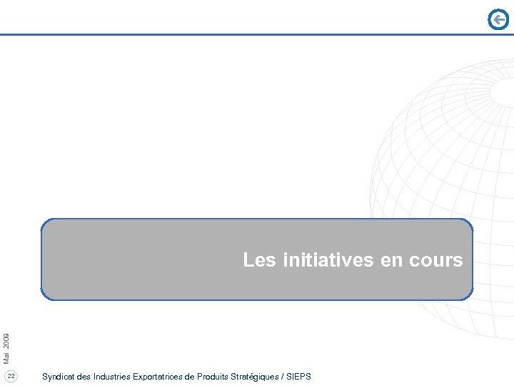 Mai 2009 Les initiatives en cours 22 Syndicat des Industries Exportatrices de Produits Stratégiques