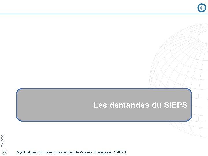 Mai 2009 Les demandes du SIEPS 25 Syndicat des Industries Exportatrices de Produits Stratégiques