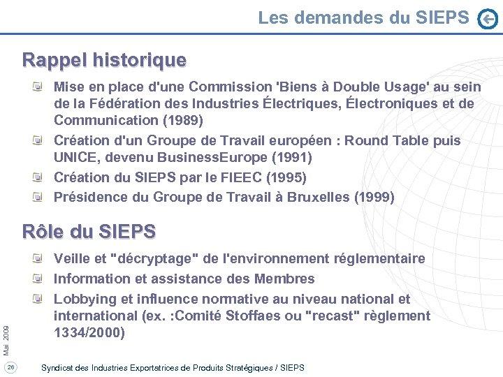 Les demandes du SIEPS Rappel historique Mise en place d'une Commission 'Biens à Double