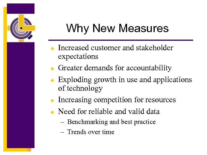 Why New Measures u u u Increased customer and stakeholder expectations Greater demands for