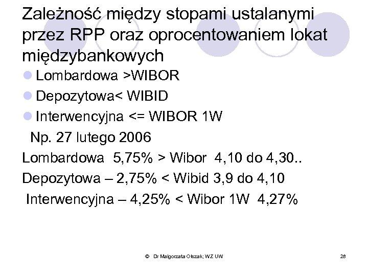 Zależność między stopami ustalanymi przez RPP oraz oprocentowaniem lokat międzybankowych l Lombardowa >WIBOR l