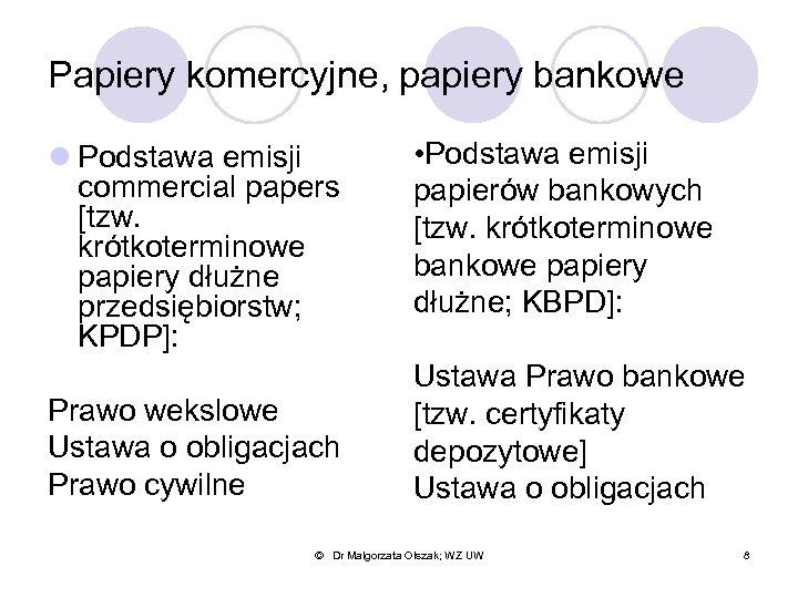Papiery komercyjne, papiery bankowe l Podstawa emisji commercial papers [tzw. krótkoterminowe papiery dłużne przedsiębiorstw;