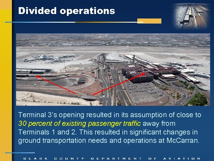 Divided operations Terminal 3's opening resulted in its assumption of close to 30 percent