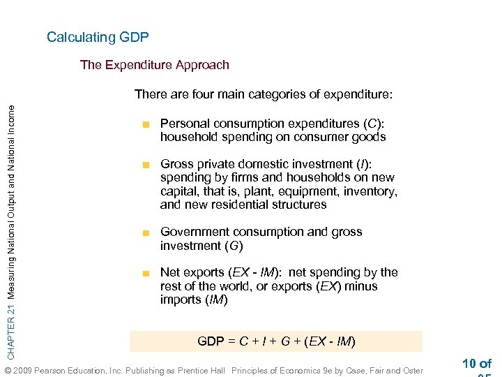 Calculating GDP The Expenditure Approach CHAPTER 21 Measuring National Output and National Income There