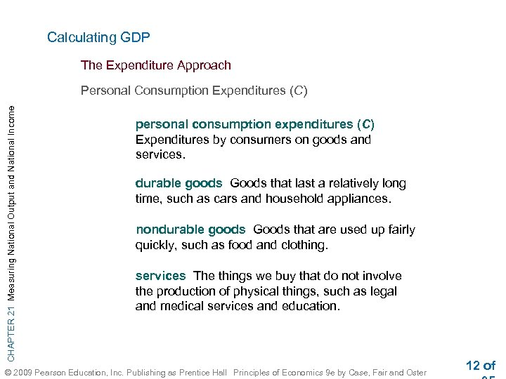 Calculating GDP The Expenditure Approach CHAPTER 21 Measuring National Output and National Income Personal