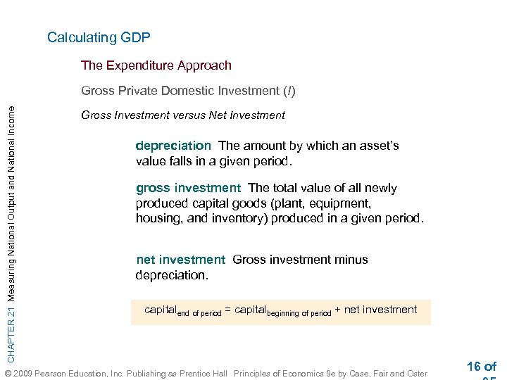 Calculating GDP The Expenditure Approach CHAPTER 21 Measuring National Output and National Income Gross