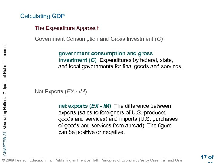 Calculating GDP The Expenditure Approach CHAPTER 21 Measuring National Output and National Income Government