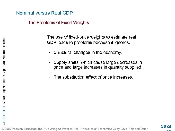 Nominal versus Real GDP CHAPTER 21 Measuring National Output and National Income The Problems
