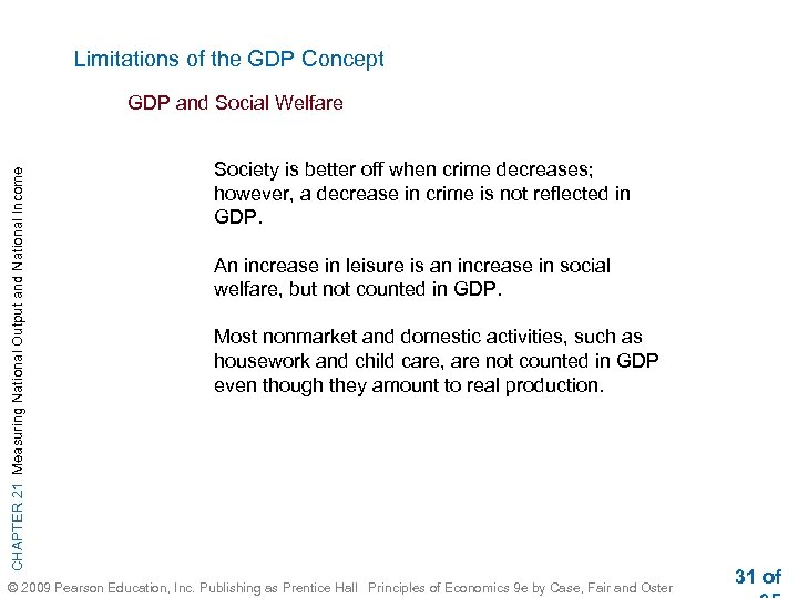 Limitations of the GDP Concept CHAPTER 21 Measuring National Output and National Income GDP