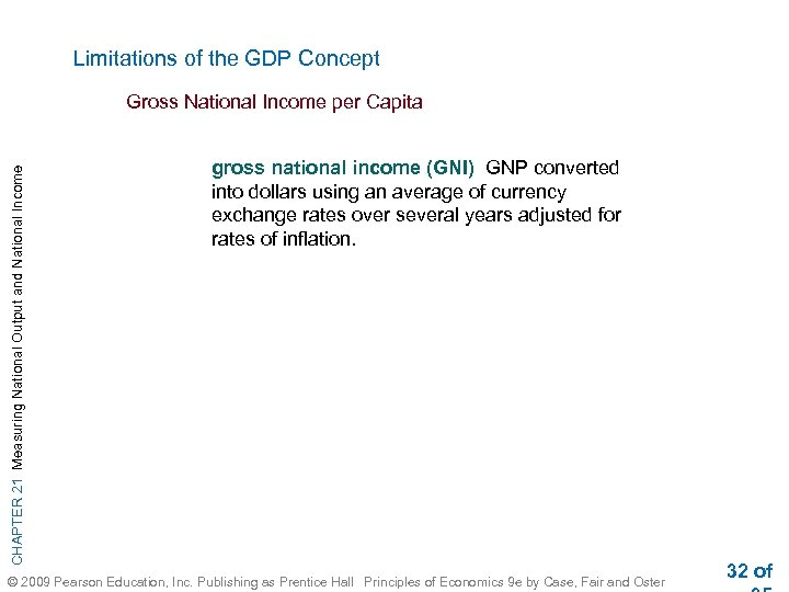 Limitations of the GDP Concept CHAPTER 21 Measuring National Output and National Income Gross