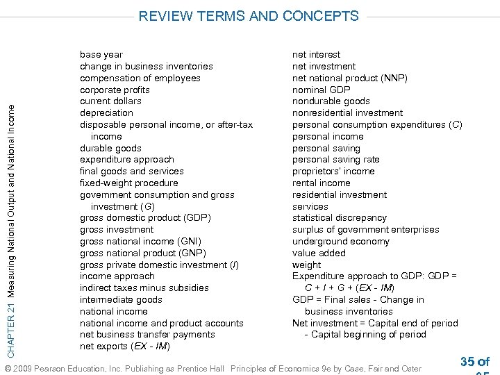 CHAPTER 21 Measuring National Output and National Income REVIEW TERMS AND CONCEPTS base year