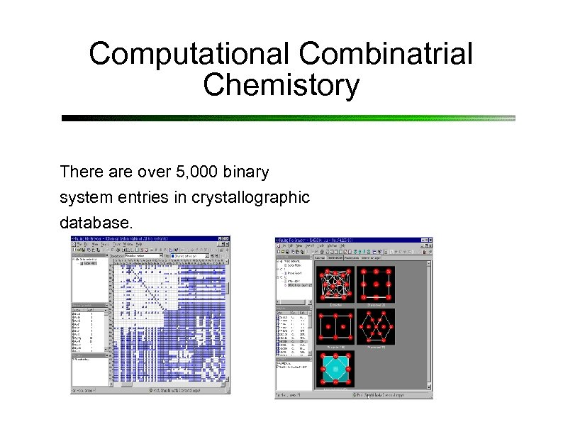 Computational Combinatrial Chemistory There are over 5, 000 binary system entries in crystallographic database.