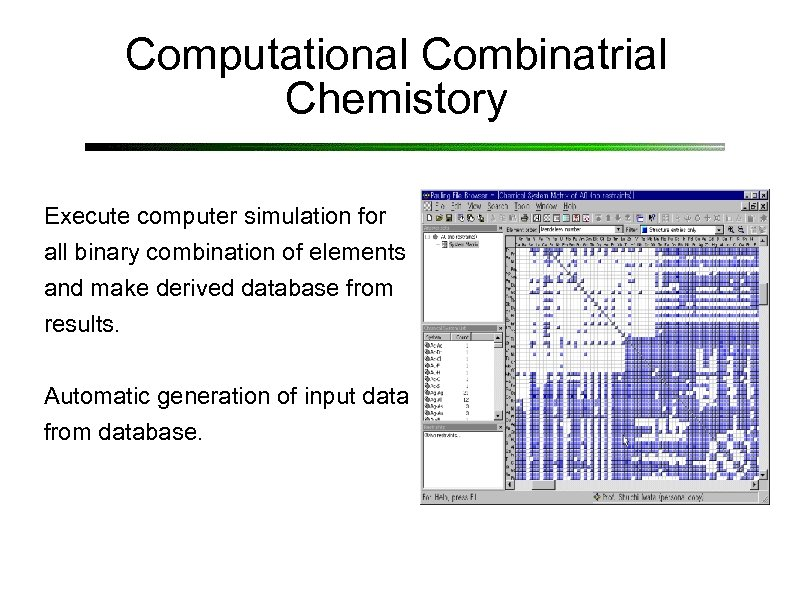 Computational Combinatrial Chemistory Execute computer simulation for all binary combination of elements and make