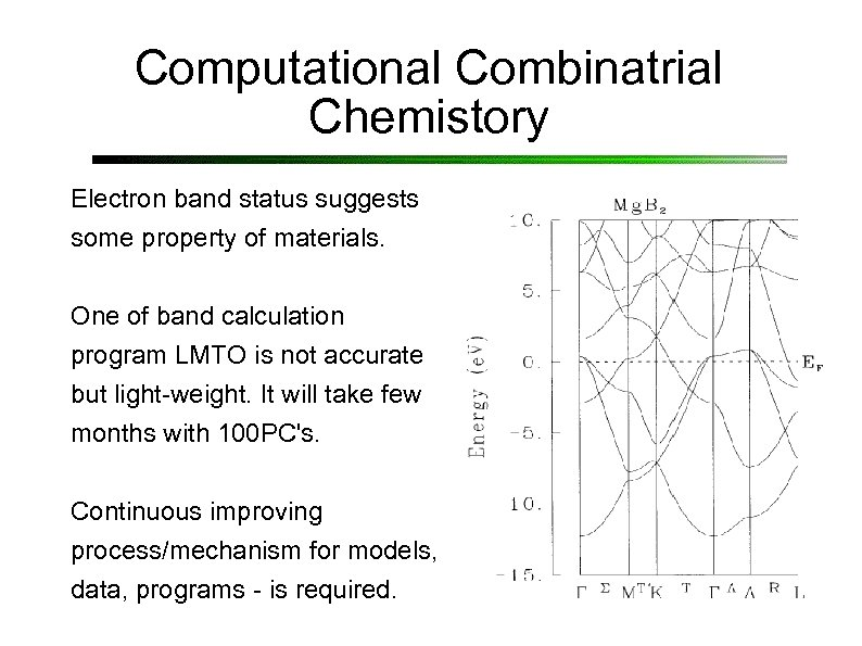 Computational Combinatrial Chemistory Electron band status suggests some property of materials. One of band