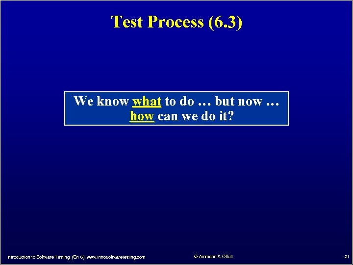 Test Process (6. 3) We know what to do … but now … how