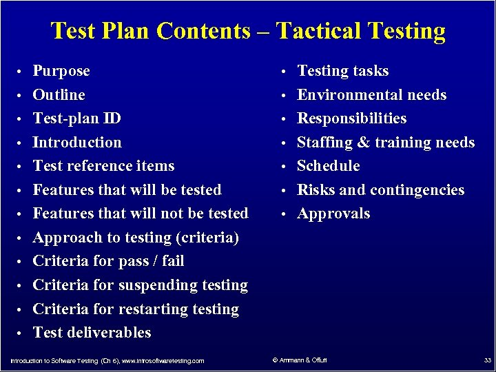 Test Plan Contents – Tactical Testing • Purpose • Testing tasks • Outline •