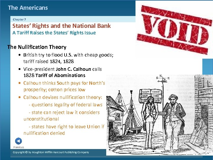 The Americans Chapter 7 States' Rights and the National Bank A Tariff Raises the