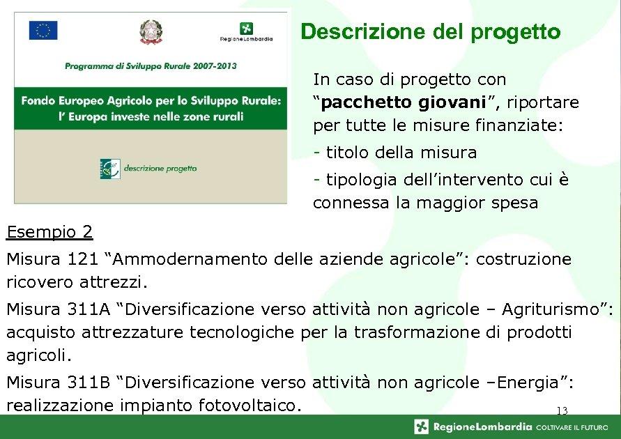 """Descrizione del progetto In caso di progetto con """"pacchetto giovani"""", riportare per tutte le"""