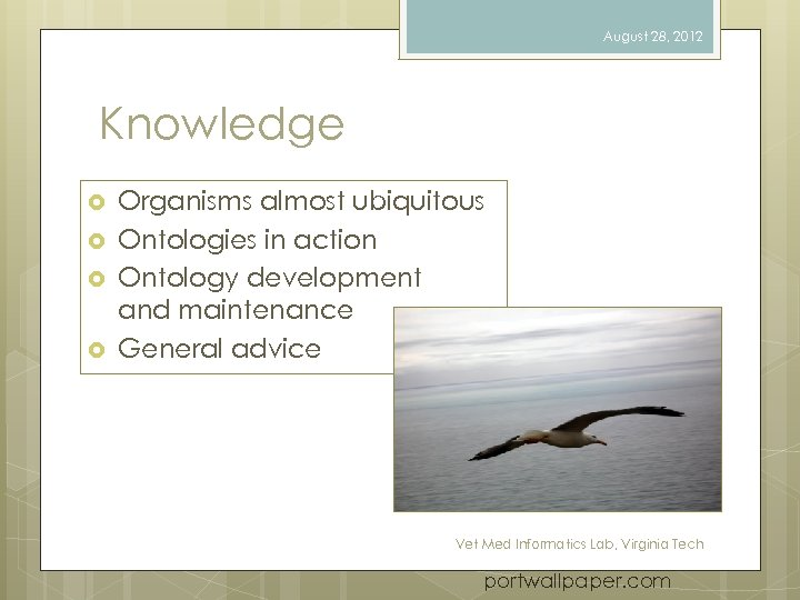 August 28, 2012 Knowledge Organisms almost ubiquitous Ontologies in action Ontology development and maintenance