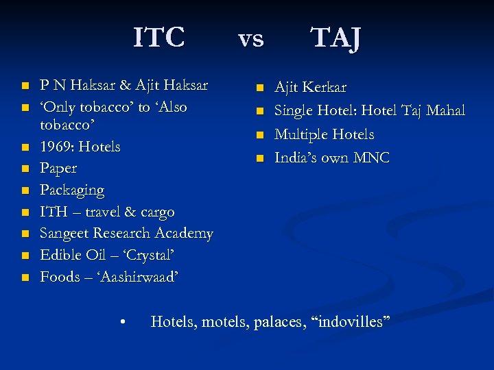 ITC n n n n n P N Haksar & Ajit Haksar 'Only tobacco'