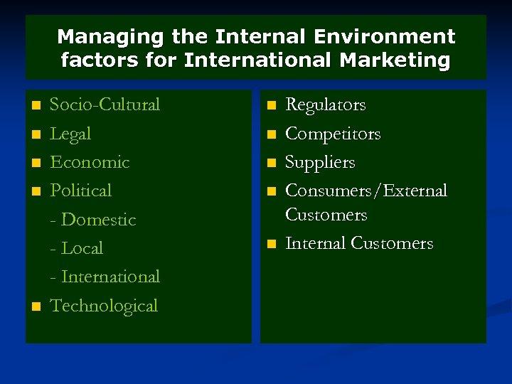 Managing the Internal Environment factors for International Marketing n n n Socio-Cultural Legal Economic